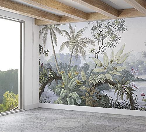 SILK ROAD EU™ Papier Peint Panoramique Jungle Soie, 355 x 250 cm, Poster Geant Mural, Personnalisé 3D, pour Salon Chambre d'enfants restaurant Décoration Murale. Aquarelle Plantes, Lac TropicalA