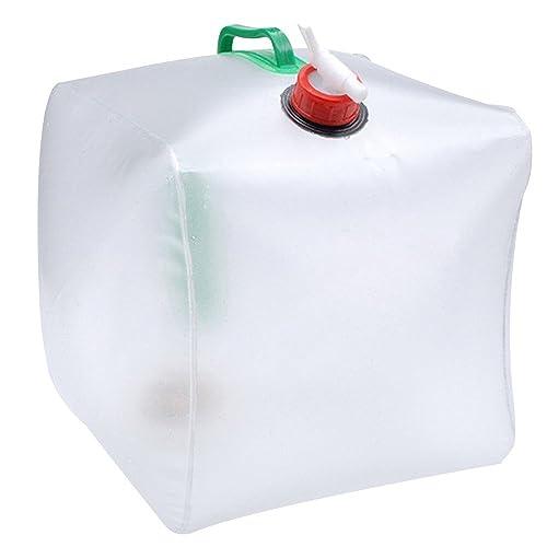 Sijueam 20 Litre Pliable Non toxique PVC Réservoir d'eau avec Robinet Transparent Portable Seau boire de eau avec poignées en plastique pour Camping Randonnée Trekking Survie Chasse Pêche