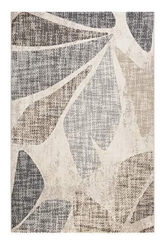 Esprit Home, In & Outdoor Kurzflor Teppich - Läufer für Terrasse, Balkon, Küche, Wohnzimmer, Leaf (80 x 150 cm, beige grau Taupe)