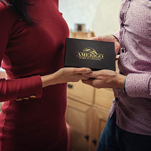 Exklusives Edelstahl Whisky Steine Geschenkset – Hohe Kühltechnologie - 8 Whisky Eiswürfel Wiederverwendbar - Edelstahl Eiswürfel - Besondere Geschenke für Männer - Edelstahl Kühlstein von Amerigo - 4