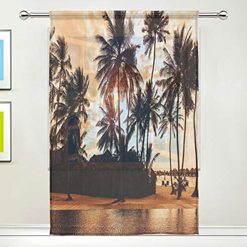 cortinas transparentes playa palmeras tropicales