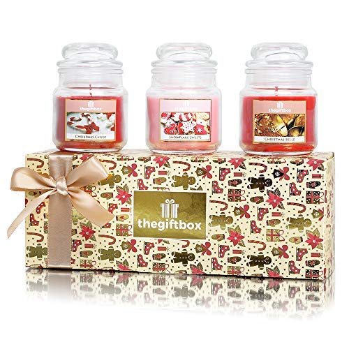 Sweetfrost Christmas Fragranced 3 x Jar Candles. Scented Candles Make Great Gifts for Women, Great Gifts for Her or Christmas Gifts for Women