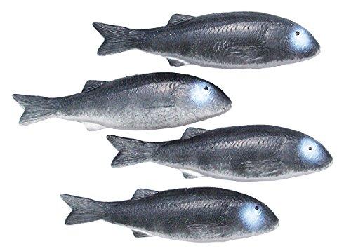 ERRO 4 Meeräschen grau Attrappen zur Schaufensterdeko - 13444, Fisch Nachbildung zur Deko, Maritime Dekoration, TV und Theater Requisite, Gastronomiebedarf