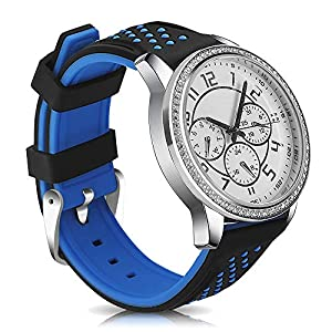 Narako Quick Release Silicone Watch Bands Divers Model Replacement Rubber Watch Strap 20mm 22mm 24mm 26mm Waterproof dot Bicolor Silver Buckle for Men and Women Sport