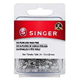 SINGER 07051 Pearlized Head Straight Pins, Size 24, 120-Count, White