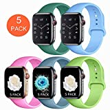 Booyi Compatible with Apple Watch Band 38mm 40mm 42mm 44mm,Pack 5 Soft Silicone Replacement Bands Compatible with iWatch Series 5/4/3/2/1