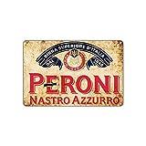 Peroni Nastro Azzurro Beer 1846 Vintage Wall Decor Art Metal Bar Pub Italia Brewery Targa in Alluminio 17,8 x 25,4 cm