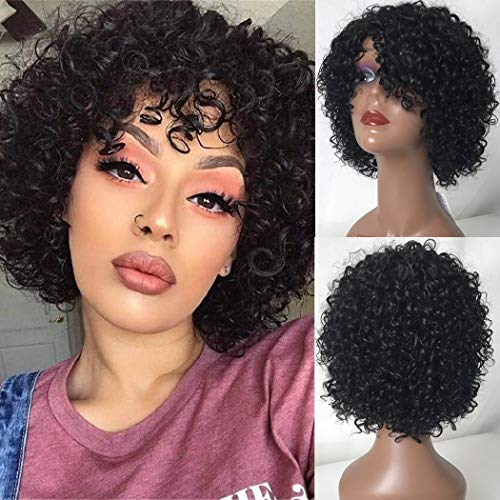Bestsojoy 10A Short Curly Human Hair Wigs for Black Women 10inch Kinky Curly Wig Glueless None Lace Front Wig with Bangs For Women 100% Brazilian Virgin Hair Bob Wig (10 Inch, Natural Color)
