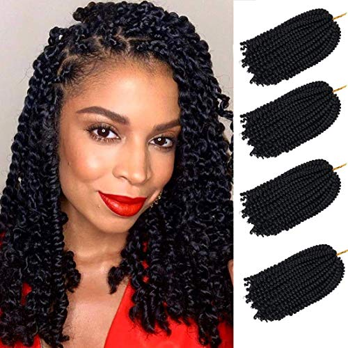 4 pack spring twist crochet braiding hair Ombre Colors Synthetic Hair Extensions 30 Strands/Pack, 110g/Pack(1B,8Inch)