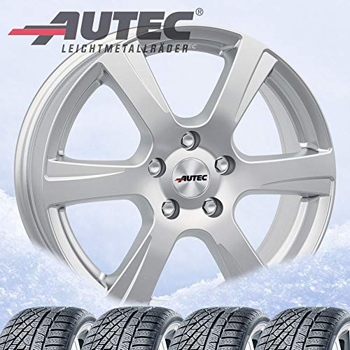 4 ruedas de invierno Autec Polaric (ECE) 6,5 x 16 ET20 4 x 108 plata brillante con 205/55R16 91H Michelin Alpin 6 para Citroen C3 /2020/