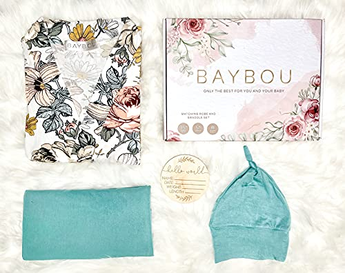 Baybou Robe and Swaddle Set Matching Mommy and Me Baby Boy Bamboo Swaddle Blanket Gift Box Gender Neutral 5-Piece Set (Modern, S/M)