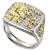 CHXISHOP Anillo Abierto de Plata esterlina S925 de los Hombres, Dominiering18k Joyas de Plata del Anillo de la Cabeza del dragón Chapado en Oro Gold-One Size
