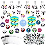 100 Pcs Panda Birthday Party Supplies Favor Pack Panda Party Favors for Kids Panda Favor Bags Panda Bear Keychains Rings Brooch Tattoos Bracelets Panda Bear Birthday Baby Shower Gift