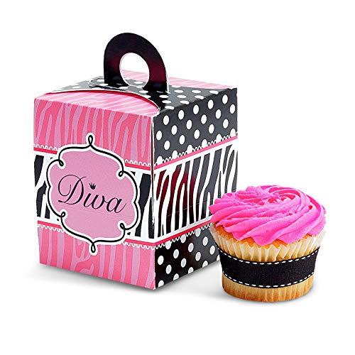 BirthdayExpress Diva Zebra Print Cupcake Boxes (4)