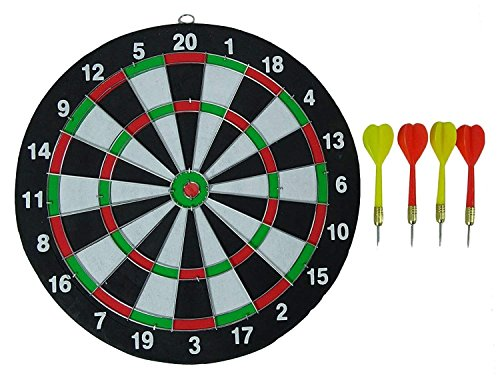 AB Sales Dart Board Game - 14 inches Self-Healing Board Double Sided Hanging Dart Game Four Darts Set for Home Game Room Mancave Dartboard