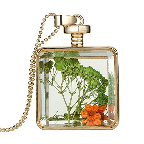 VCX Glasbedels Hanger Collier Droge Bloem Real Dry Flower Ronde Medaillon Ketting Gouden Ketting Collier for vrouwen Sieraden Fashion (Metal Color : 150N51)