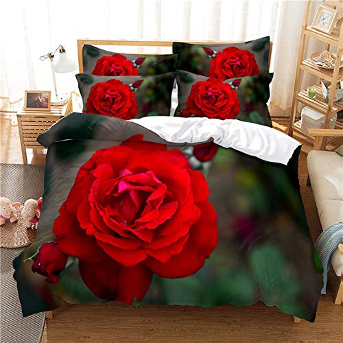 KHDFID Ropa de cama de flores, 3D rosas rojas, peonías, románticas, funda nórdica de flores de microfibra y funda de almohada (A1,220 x 260 cm)