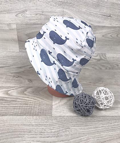 Sonnenhut inkl Nackenschutz 41-54 Jersey mütze Wal blau kopftuch, Sonnenschutz baby, Schirmmütze, sommermütze