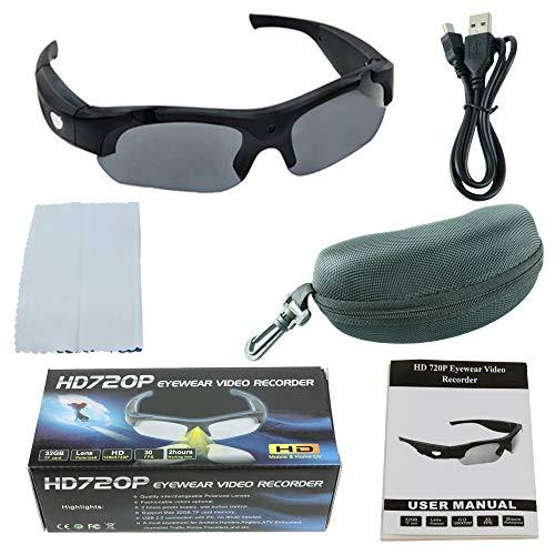 YLOVOW Gafas de Sol con Lentes de Sol Gran Angular de 120 °, WiFi HD Gafas de cámara Inteligentes Alpinismo al Aire Libre Ciclismo Deportes DV Gafas Digitales,Black,NoTF