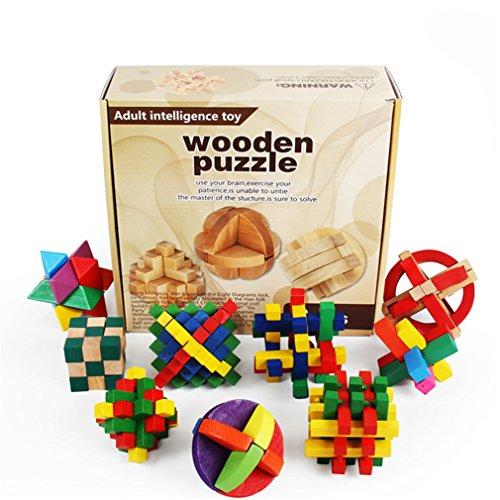 9 Piezas Juguetes Rompecabezas de Madera Caja Set   IQ Juguete Educativo   3D Brain Teaser Puzzle de Madera   Juego Niños y Adolescentes