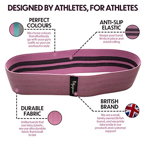 Physiqueen Resistance Bands For Legs and Glutes - Free Massage Ball - Thick Fabric Booty Bands With Free Carry Bag - Hip Circle Premium Non Slip Bands – Family Owned British Brand