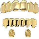 Jewel Town Custom 14k Gold Plated Hip Hop Teeth Grillz Caps Top & Bottom Set + 2 Free Single Tooth