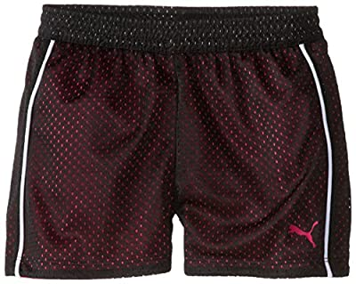 PUMA Big Girls' Active Double Mesh Short, Pink Glo, 12-14 (Large)