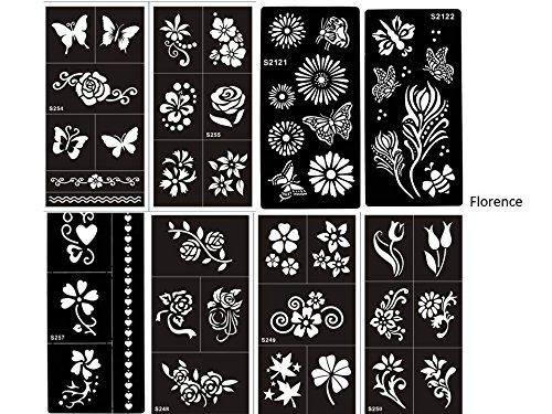 BEYOND Juego de plantillas, 8 hojas con flores y diseños de mariposas adecuados para tatuajes de henna, purpurina y aerógrafo.