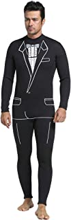 MonkeyJack Mens Tuxedo Wetsuit Formal Style Black 3mm Neoprene Suit Tie Surf Surfing SCUBA Dive Diving Suit