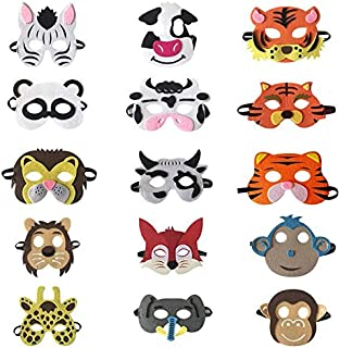PKRISD 15pcs/lot Jungle Safari Animals Party Mask for Kids Birthday Party Costume Masks Dress up Cosplay Game Decoration Supplies Ideas
