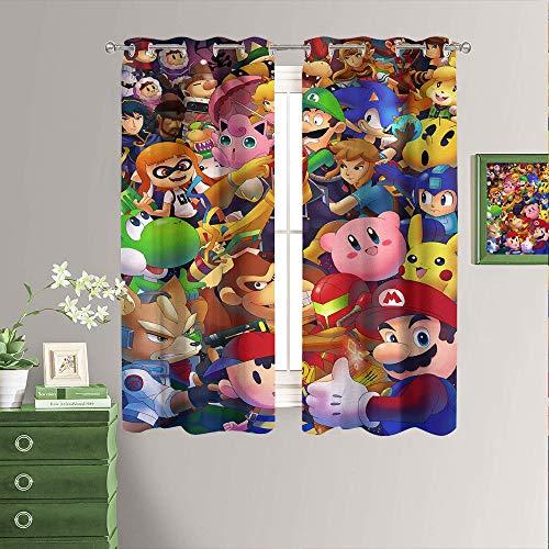 Super-Smash Bros Verdunkelungsvorhang für Mädchenzimmer, wärmeisoliert, Fensterdekoration, Verdunkelungsvorhänge/Vorhänge für Fenster (B x L) 183 x 183 cm
