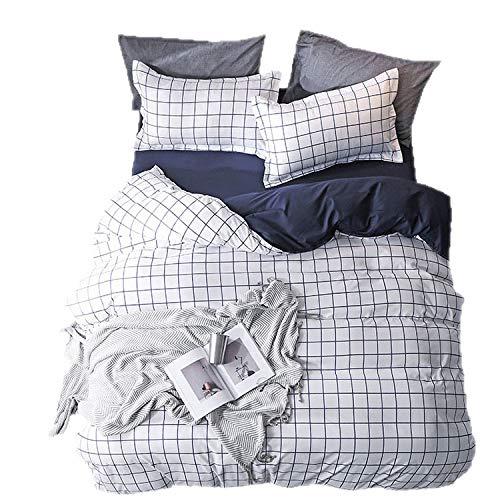 QXbecky Ropa de cama sábana a cuadros simple funda de almohada 4 piezas de algodón piel cálida suave y lisa con funda de almohada funda nórdica cama doble sábanas de vals king 200x230cm
