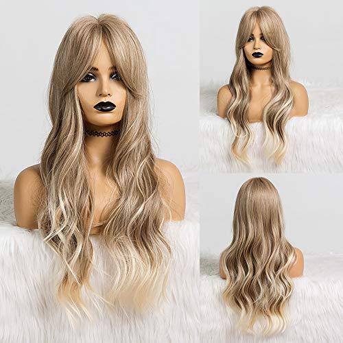 HAIRCUBE Parrucche bionde ombre Parrucche lunghe ondulate parrucche con frangia NESSUNA Parrucche sintetiche in pizzo da 26 pollici per le donne…
