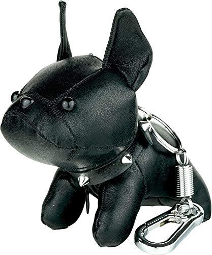 SHENGYANG Cute French Bulldog Leather Keychain Car Key Ring Pendant Gift Purse Handbag Backpack Charm for Women Kids (Black)-red