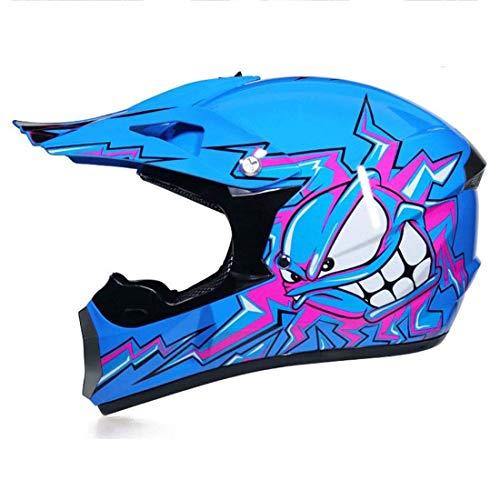 BLLJQ Casco Moto Hombre, Motocross Full Face Motorcycle Cross Helmet Casco Motocicleta con Gafas Guantes Mascarilla, Al Aire Libre Motorbike ATV MTB Racing Seguridad Set, Azul (Size : M(54-55cm))