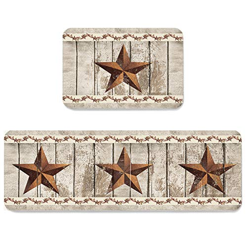 SUN-Shine 2 Piece Kitchen Mat Set,Vintage American Flag Texas Star Soft Floor Rugs Cushioned Non Slip Area Runner Carpet Water Absorbent Indoor Doormats Rustic Farm Wooden