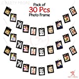 Party Propz 30Pcs Paper Photo Frame 5x7 Kraft Paper Picture Frames DIY Cardboard Photo Frames with Wood Clips and Jute Twine (Black)