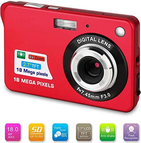 ATian 18 Mega Pixel, 2,7 Zoll (6,9 cm), 1280 × 720 HD LCD wiederaufladbare Digitalkamera & Digitale Videokamera für Studenten/Senioren/Kinder