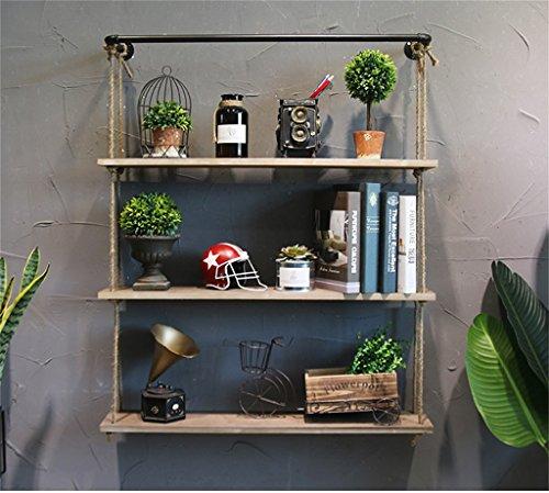 HQQ Estante de pared de madera maciza con estantes de cuerda de cáñamo Colgante de pared para sala de estar como estante de almacenamiento Estante de pared decoraciones de diseño Vintage LOFT estilo 8