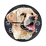 N/W Charming Dog Wall Clock 10' Round,- Battery Operated Wall Clock Clocks for Home Decor Living Room Kitchen Bedroom Office School