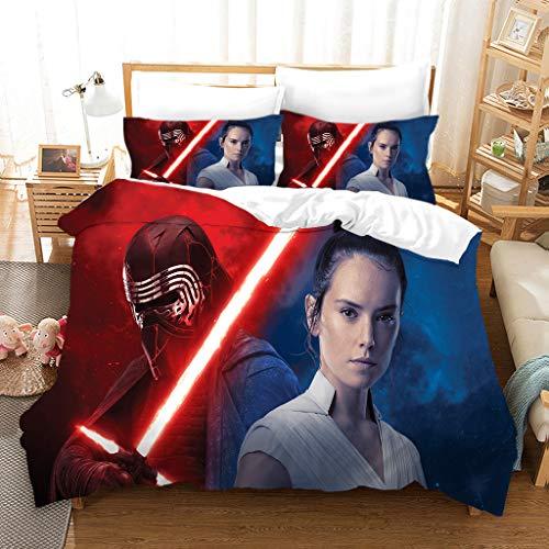 GDGM Star Wars Bettwäscheset,Mikrofaser,Star Wars Bettbezug + Kissenbezug,Bettwaren-Sets Für Kinder,3D Bettwäsche Baumwolle/Renforcé (A10,155x220cm+75x50cmx2)