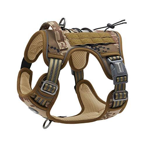 Auroth Taktisches Hundegeschirr, kein Ziehen, verstellbar, reflektierend, K9 Arbeitstraining, Haustierweste, einfache Kontrolle für kleine, mittelgroße, große Hunde, M, Desert Camo