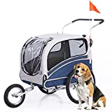 ANOUR 2 in1 Pet Bicycle Trailer and Jogger Travel Carrier Suitable for Big and Medium Dogs, Folding Storage 20303L