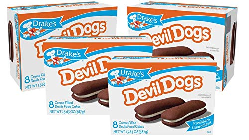 Drake's Cakes Devil Dogs, 4 Boxes, 32 Individually Wrapped Devils Food Cakes