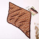 LMDZSW Bufanda de seda de calidad Mujeres Bufandas cuadradas arrugadas Moda Animal Print Dot Shawl And Wrap Lady Hair BandYZ11 marrón oscuro
