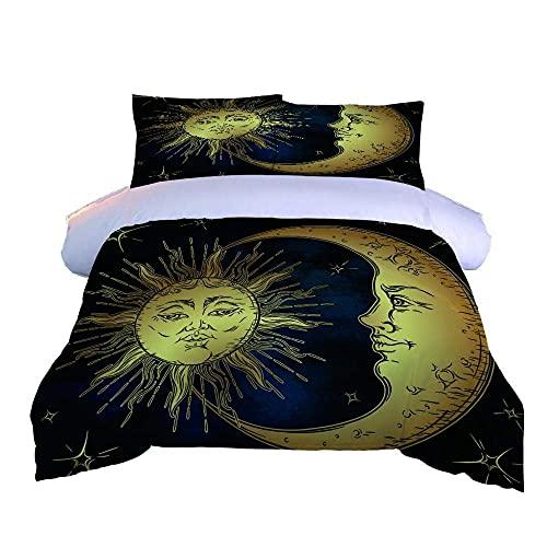 3D-sängkläder hans och hennes sängveck super mjuk enkel skötsel (220 x 240 cm), 3 delar 1 del påslakan + 2 delar matchande örngott