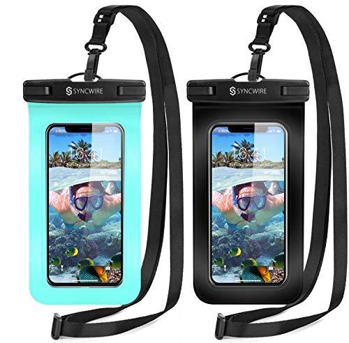 Syncwire Funda Impermeable Universal, 2 Unidades Bolsa para móvil estanca a Prueba de Agua IPX8 para iPhone 12 Pro Max 12 11 XS MAX XR X 8 7, Xiaomi Redmi Note 9 8 7, Galaxy S21 S20 S10, Huawei