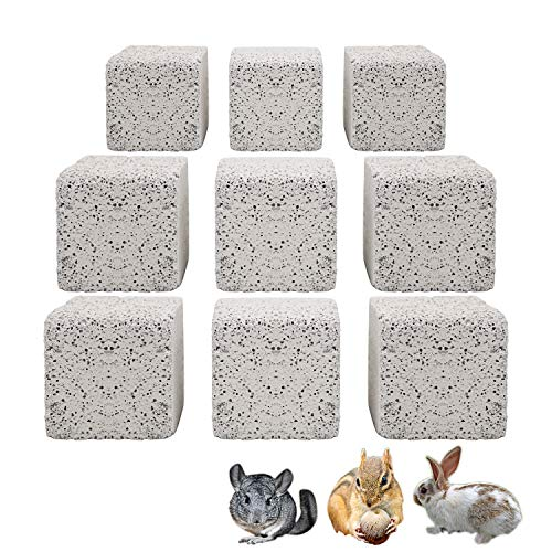 S-Mechanic 9Pcs Hamster Chew Toy Lava Square Stone Teeth Grinding Toys Mineral Stone Chew Toy for Hamsters, Chinchillas, Rabbits and Other Small Animals