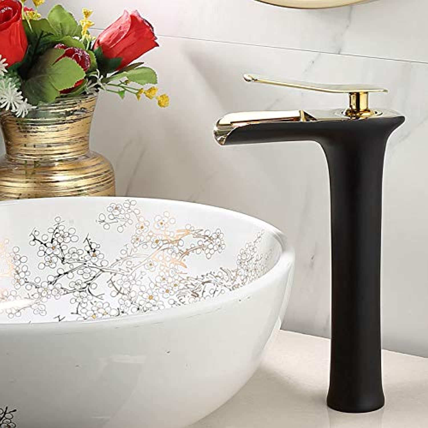 Black Bathroom Faucet Solid Brass Single Hole Cold and Hot Water Basin Mixer Tap Single Handle Water Tap FL-23