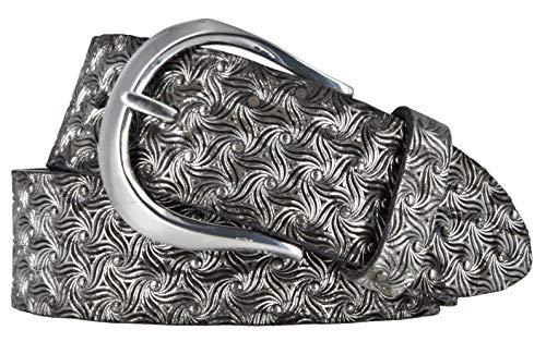 Bernd Götz Damen Leder Gürtel 35 mm Metallicleder gewalkt Ledergürtel Damengürtel (95 cm, schwarz - silber)